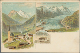 Ansichtskarten: ALPEN-POSTKARTE, Komplette 12er Serie, Kolorierte Lithographien Um 1900, Sign. Heubn - Ansichtskarten