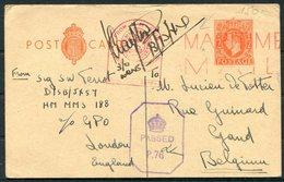 "1944 GB Stationery Postcard - Ghent Belgium. Ship ""Maritime Mail"" Navy Ship Censor - 1902-1951 (Rois)"