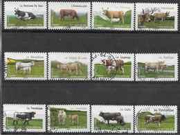 2014 FRANCE Adhésifs 953-64 Oblitérés, Cachet Rond, Vaches - Adhésifs (autocollants)