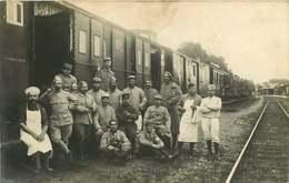250120B - CARTE PHOTO EUGENE CONTREXEVILLE - GUERRE 1914 18 MILITARIA - Wagon Chemin De Fer Croix Rouge Santé Pipe - Guerre 1914-18
