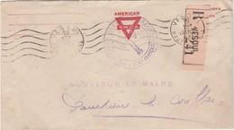"""Lettre Recommandée Franchise / Préfecture Vesoul 1943 /  Sur Enveloppe American Ymca / Cachet Francisque """"Etat Français"""" - Marcophilie (Lettres)"""