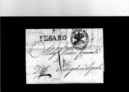 CG7 - Italia - Bollo Lineare Pesaro Su Lettera Del 1834 Per S.Angelo In Lizzola - Direz. Prov:le Di Polizia - Pesaro - 1. ...-1850 Prephilately