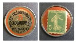 FRANCE Timbre-monnaie MUSEE OCEANOGRAPHIQUE, AQUARIUM  5 Cts Vert/rouge, VOIR COMMENTAIRE, Kapselgeld, Encased Postage. - France