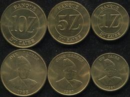 Zaire Coins Set #1. 1987-1988 (3 Coins. AUnc-Unc) - Zaire (1971 -97)