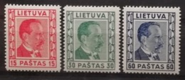 Lituanie 1936-37 / Yvert N°355-357 / * - Lithuania