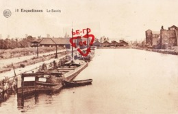 ERQUELINNES - Le Bassin (avec Péniche à Quai) - Carte Circulé - Erquelinnes