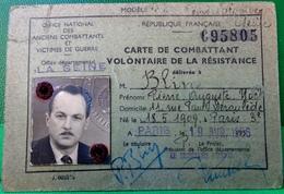 WWII CARTE DE COMBATTANT VOLONTAIRE DE LA RESISTANCE . OFFICE DEPARTEMENTAL LA SEINE - Documents