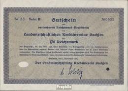 Deutsches Reich 170 Reichsmark, Gutschein Sehr Schön 1932 Landwirts. Kreditverein Sachsen - 1918-1933: Weimarer Republik