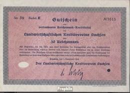 Deutsches Reich 30 Reichsmark, Gutschein Druckfrisch 1932 Landwirts. Kreditverein Sachsen - 1918-1933: Weimarer Republik