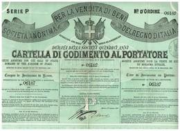 Titre Ancien - Societa Anonima Per La Vendita Di Beni Del Regno D'Italia - Titulo De 1865 - Azioni & Titoli