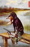 Superbe Thème Chasse Voire également Thème Chien écrite 1908 - Hunting
