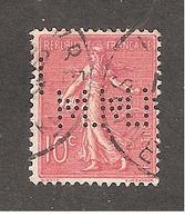 Perforé/perfin/lochung France No 129 M.M.M Maison Manuel Misa - France