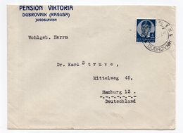 1937 YUGOSLAVIA, CROATIA, DUBROVNIK TO HAMBURG, GERMANY, HOTEL, PENSION VICTORIA - Covers & Documents