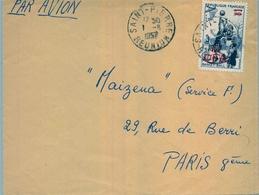 1957 , REUNIÓN , SOBRE CIRCULADO - CORREO AÉREO , SAINT PIERRE - PARIS , BALONCESTO , BASKETBALL - Lettres & Documents