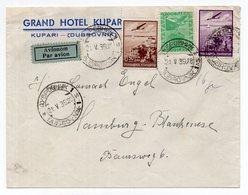 1939 YUGOSLAVIA,CROATIA,DUBROVNIK TO HAMBURG,GERMANY,GRAND HOTEL KUPARI,AIR MAIL - Covers & Documents