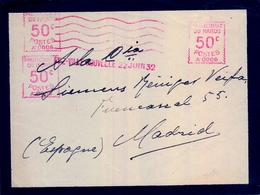 1932 , MARRUECOS FRANCÉS , FRONTAL CIRCULADO A MADRID , FEZ - VILLE NOUVELLE , FRANQUEO MECÁNICO - Lettres & Documents