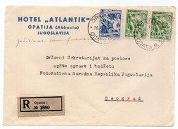 1959 YUGOSLAVIA, CROATIA, OPATIJA TO BELGRADE, HOTEL ATLANTIK, REGISTERED COVER, FRONT ONLY - 1945-1992 Socialist Federal Republic Of Yugoslavia