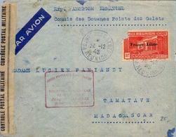 1943 REUNION , POINTE DES GALETS - TAMATAVE ( MADAGASCAR ) REAPERTURA DE LA LÍNEA POSTAL AÉREA , CENSURA , LLEGADA - Réunion (1852-1975)