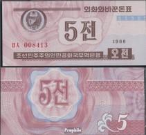 Nord-Korea Pick-Nr: 24 (braun) Bankfrisch 1988 5 Chon - Corea Del Nord