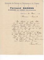586 FACTURE Fernand BADENS  BATTAGE DÉPIQUAGE  à La Vapeur Saint ARROUMEX Par CAUMONT  82 - Landbouw