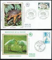 """Y/T N° 1819/1820 S/ 2 FDC """"soie"""" - Oblitérations Diverses - Protection Nature: Tatou Géant Et Aigrette Garzette. - FDC"""