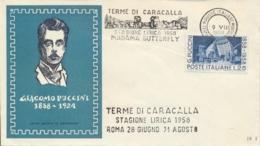 Italia 1958 Annullo Speciale Su Busta Roma Terme Di Caracalla Stagione Lirica Opera Madame Butterfly - Music