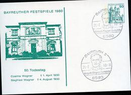 Bund PP103 C1/001 BAYREUTH FESTSPIELE Sost. Wagner 1980  NGK 18,00 € - Cartoline Private - Usati