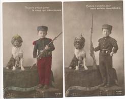 ( Lot De 2 Cartes ) Enfant Militaire Avec Chien ( Casque à Pointe ) Série J.k. 9350 - Patriottisch