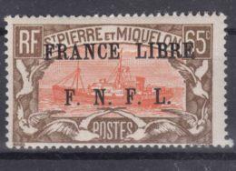 St. Pierre & Miquelon 1941 FRANCE LIBRE Mi#243 Mint Hinged - St.Pierre & Miquelon