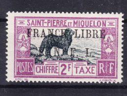 St. Pierre & Miquelon 1942 FRANCE LIBRE Postage Due Mi#55 Mint Hinged - St.Pierre & Miquelon