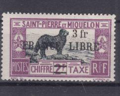 St. Pierre & Miquelon 1942 FRANCE LIBRE Postage Due Mi#56 Mint Hinged - St.Pierre & Miquelon