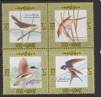 Kuwait Scott 585 1973 Birds,mint Hinged Block 4, - Sparrows