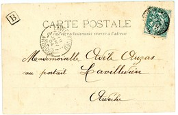 ARDECHE CP 1904 VILLENEUVE DE BERG + BOITE URBAINE B - Poststempel (Briefe)