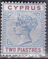 CYPRUS 1894-96 Queen Victoria Bi-coloured 2 Piastre Blue / Lilac WM CA Die II Vl. 38 MH - Cyprus (...-1960)