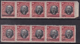 Liberia 1915-16 Overprints Strip Sc 153a Mint Hinged 10 Types - Liberia