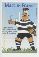 Rugby - Made In France, Sandwichs Hamburgers à La Française Nancy Strasbourg (cp Vierge) - Reclame