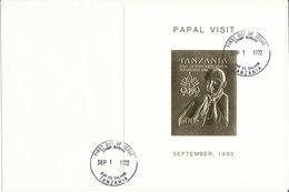 TANZANIA FDC 1990  VISIT POPE JOHN PAUL II - Tanzania (1964-...)