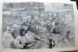 Paris Automobile - L'entrée Du Pont De Suresnes En Dimanche -  Page Originale Double 1903 - Historical Documents