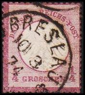 1872. DEUTSCHES REICHS-POST. Kleinem Brustschild. 1/4 GROSCHEN BRESLAU 10 3 74. Cut. (Michel 1) - JF320051 - Oblitérés