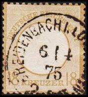 1872. DEUTSCHES REICHS-POST. Kleinem Brustschild. 18 KREUZER. REIDENBACH I. LO.... 6 ... (Michel 9) - JF320056 - Alemania