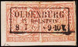 1868. NORDDEUTSCHER POSTBEZIRK.  1/2 GROSCHEN. 2 Ex. LUXUS OLDENBURG IN HOLSTEIN 8 7 ... () - JF320092 - North German Conf.