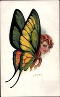 Artiste Cp Usabal, Luis, Schmetterling Mit Frauenkopf, Erkal 363 6 - Ilustradores & Fotógrafos