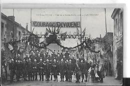 JOUE LES TOURS   FETE DE LA SAINT BARBE 1906   CAFE VINCENT   GROUPE  POMPIERS ?   TAMBOUR   COURAGE DEVOUEMENT - Autres Communes