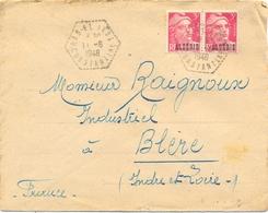 ALGERIE RAS-EL AKBA CONSTANTINE  TàD AGENCE POSTALE Du 11-6-1948 – PAIRE GANDON 3 F Rose S. ALGÉRIE YT 238 - Argelia (1924-1962)