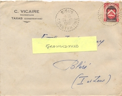 ALGERIE SIGUS CONSTANTINE TàD  RECETTE DISTRIBUTION 28-12-1949 – En-tête C. VICAIRE PROPRIÉTAIRE TAXAS - Algeria (1924-1962)