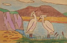 Carte En Bois Peinte . Pelican. Hand Made Painted  Wooden Card . Art Deco - Ansichtskarten