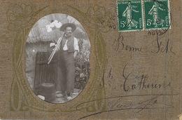 Carte Façon Bois.  Decor Art Nouveau . Photo Paysan. Sainte Catherine - Ansichtskarten
