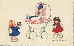 Faire-part De Baptème Signé Héléna Scheggia (juin 1944) Avec Enfants Et Berceau - Naissance & Baptême