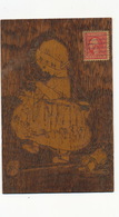 Carte  En Bois . Petite Fille Et Son Chien  Faisant Du Tricot  . Epaisse . Knitting - Ansichtskarten