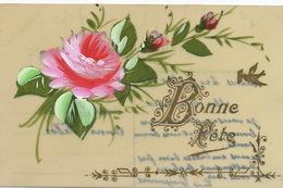 Très Belle Carte Celluloid Faite Main. Hand Painted . Rose  Envoi à Anna Faber Par Louyis Guyonnard Rennes - Ansichtskarten